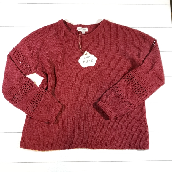 Knox Rose Chenille Crochet Pullover Sweater NWT